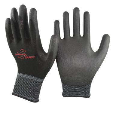 13 Gauge Polyester Knitted PU Palm Coated Work Gloves PU1350P-BLK