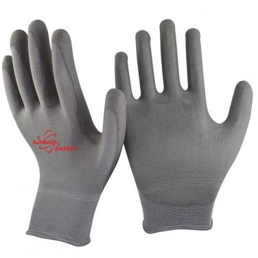 13 Gauge Polyester Knitted PU Palm Coated Work Gloves PU1350P-DG