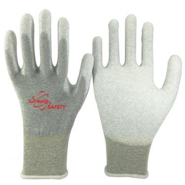 13 Gauge Nylon and Carbon Knitted PU Palm Coated Anti-static Gloves PU20.07P