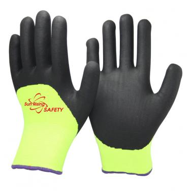 13 Gauge Nylon and Nappy Acrylic liner Nitrile Palm Coated Gloves NBR1355DS-HY/BLK