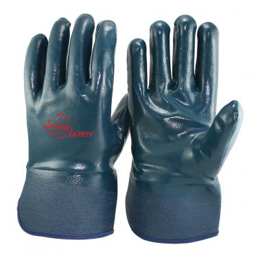 Jersey Liner Heavy Duty Nitrile Full Coated Impregnated Safety Cuff Gloves NBR4530FC