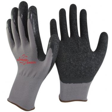 13 Gauge Polyester Knitted Liner Crinkle Latex Palm Coated Garden Gloves NM1350P