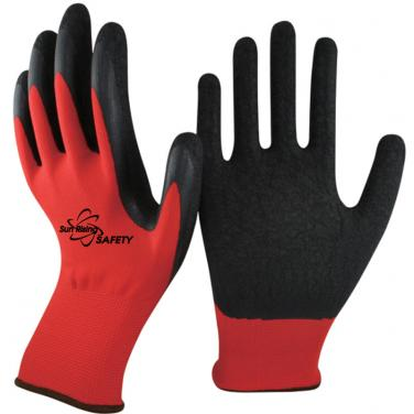 13 Gauge Red Polyester Knitted Liner Crinkle Latex Palm Coated Work Garden Gloves NM1350P-R/BLK