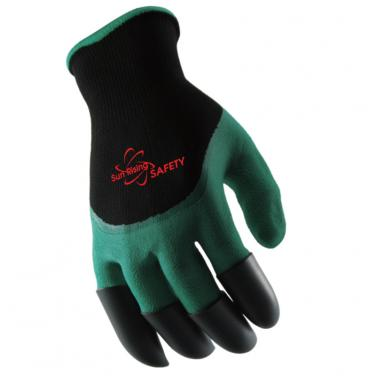 Nylon Knitted Liner Foam Latex 3/4 Coated With 4 Claws Gardening Gloves NM1355F-CL
