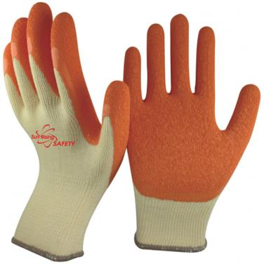 10 Gauge Yellow Polycotton Knitted Liner Crinkle Latex Palm Coated Work Gloves NM10902-Y/OR