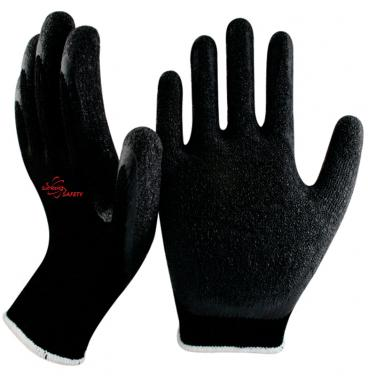 10 Gauge Black Polycotton Knitted Liner Crinkle Latex Palm Coated Work Gloves NM10902-BLK