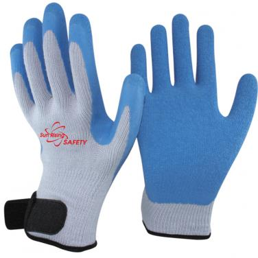 10 Gauge Polycotton Knitted Liner Crinkle Latex Palm Coated With Magic Buckle Work Gloves NM10902M-GR/B