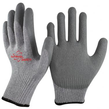 10 Gauge Economical Grey Polycotton Knitted Liner Crinkle Latex Palm Coated Work Gloves NM10902E-GR