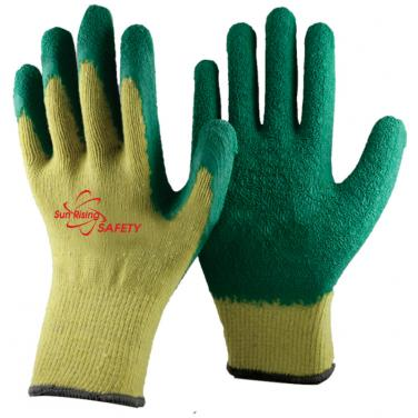 10 Gauge Economical Yellow Polycotton Knitted Liner Crinkle Latex Palm Coated Work Gloves NM10902E-Y/GN