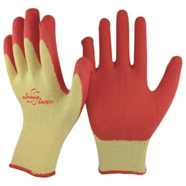 10 Gauge Economical Polycotton Knitted Liner Crinkle Latex Palm Coated Work Gloves NM10902E