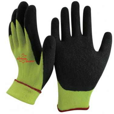 10 Gauge Acrylic Knitted Liner With Cottony Inside Crinkle Latex Coated Winter Work Gloves NM10930