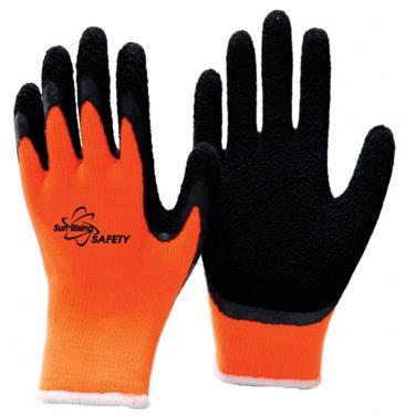 10 Gauge Acrylic Knitted Liner With Cottony Inside Foam Latex Coated Winter Work Gloves NM10930F-OR/BLK