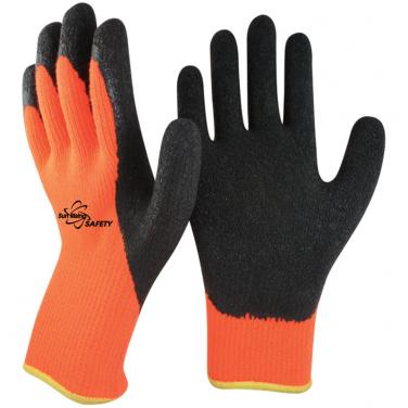 7 Gauge Arcylic Knitted Liner With Cottony Inside Crinkle Latex Coated Winter Work Gloves NM007