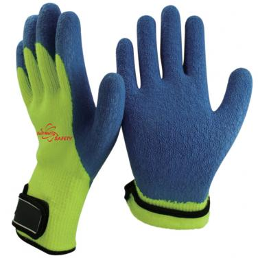 7 Gauge Arcylic Knitted Liner Crinkle Latex Coated With Magic Buckle Winter Work Gloves NM007M-HY/B