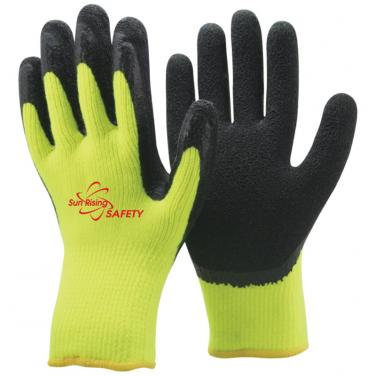 7 Gauge Arcylic Knitted Liner With Cottony Inside Foam Latex Coated Winter Work Gloves NM007F