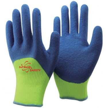 7 Gauge Arcylic Knitted Liner With Cottony Inside Half Coated Crinkle Latex Winter Work Gloves NM0075-HY/B