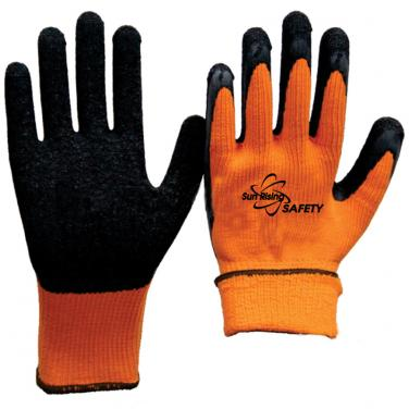 7 Gauge Polyester Knitted Liner With Cottony Inside Palm Coated Crinkle Latex Winter Work Gloves NM007E-OR/BLK