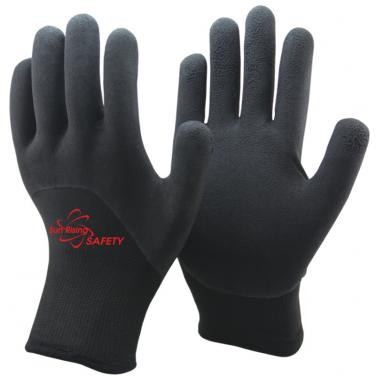 Double Liner With Cottony Inside Half Coated Foam Latex Winter Work Gloves NM1355DF