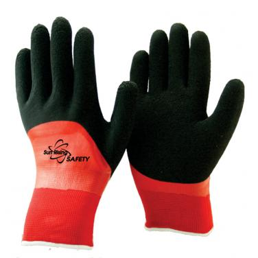 Double Liner Double Coated Latex Winter Work Gloves NM1359DC-OR/BLK