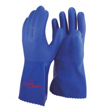 Cotton liner Full Coated With PVC Palm Gauntlet Gloves PVC1380-BR