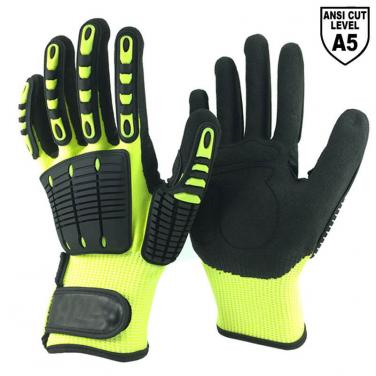Cut Resistant Knitted Liner Sandy Nitrile Palm Coated  Impact Resistant Gloves DY1350AC-HY/BLK