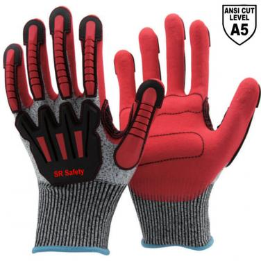 13 Gauge Anti Cut A5 Liner Sandy Nitrile Palm Coated  Anti Vabration Gloves DY1350AC-R