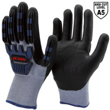 Cut Resistant A5 Liner Micropore Nitrile Palm Coated  Impact Resistant Winter Work Gloves DY1350DF-AC02