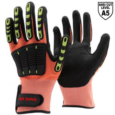 Orange Anti Cut A5 Liner Sandy Nitrile Palm Coated  Impact Resistant Gloves DY1350AC-OR01