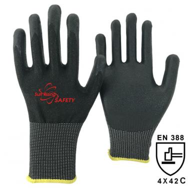 13 Gauge Kintted Liner Palm Coated Water-based PU Anti Cut Glove DY1350-WPU-H