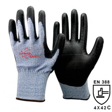 13 Gauge Soft Knitted  Liner Palm Coated PU High Cut Resistant Glove DY110-PU-HS