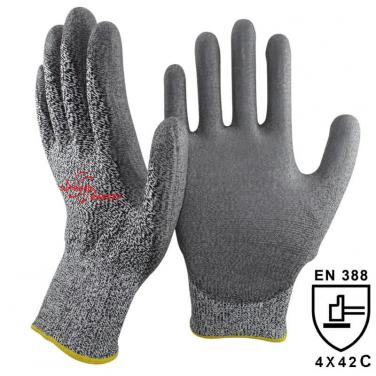 13 Gauge Cut C Quality Knitted Liner Palm Coated PU High Cut Resistant Glove DY110-PU-H
