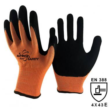 13 Gauge Knitted  Liner Palm Coated Sandy Nitrile Cut 5 GloveS DY1350-OR/BLK