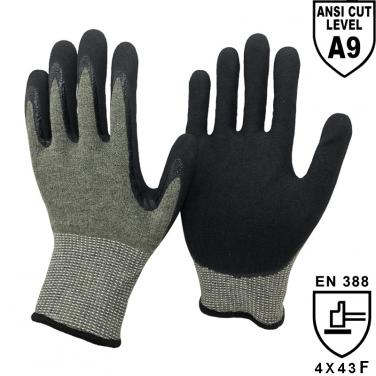 ANSI Cut A9 Cut Resistant Knitted  Liner Palm Coated Sandy Nitrile Gloves KV1350S-H9
