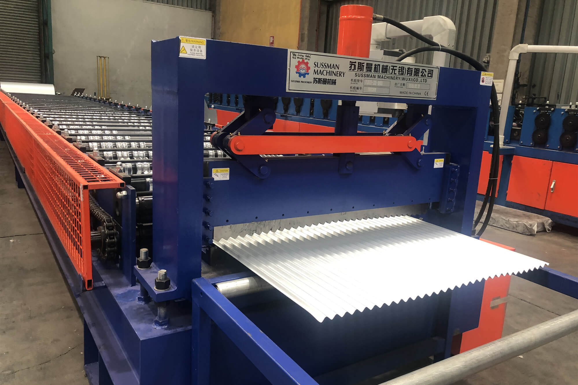 Corrugated roof panel machine in Chile
