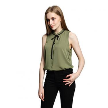 Women's Bow Tie Lace Collar Sleeveless Irregular Hem Tank Top