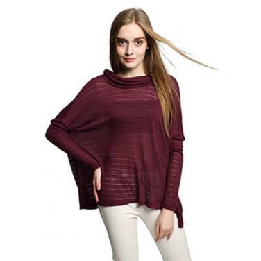 Women's Long Sleeve Cowl Neck Blouse Tunic Tops with Split Back