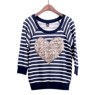 Heart Sequin Patch Stripe Pullover