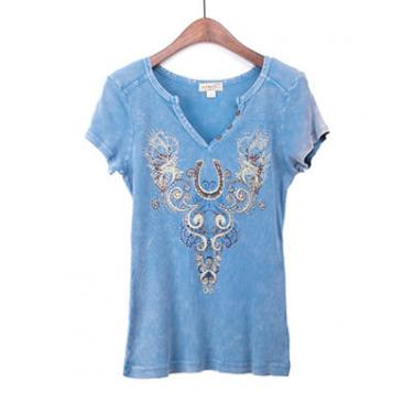 Mineral Washed Short Sleeve Top With Print And Beads In The Front