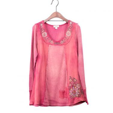 Mineral Washed Long Sleeve Top With Print And Beads In The Front