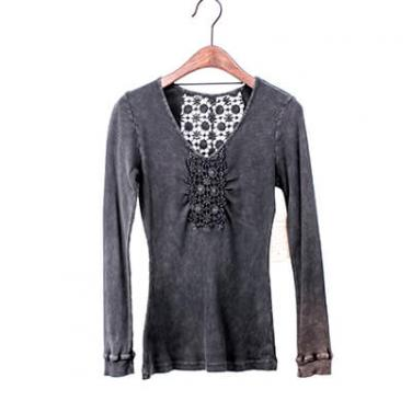 Mineral Washed Long Sleeve T-shirt With Crochet