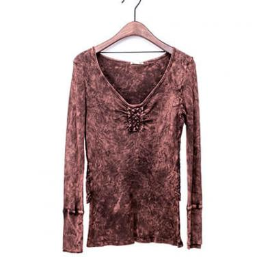 Mineral Washed Long Sleeve T-shirt With Large Crochet In The Back