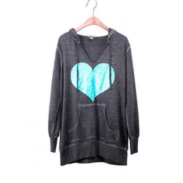 Snow Washed Long Sleeve Hoodie With Foil Print