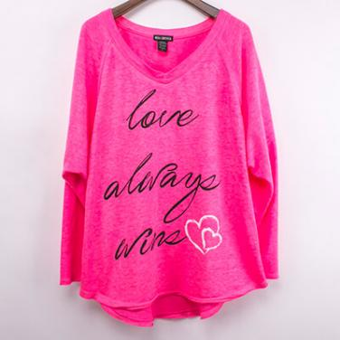 Pink Snow Washed Long Sleeve Top With Glitter Printed