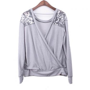 Sequin Embelishment Shoulder Flax Cardigan