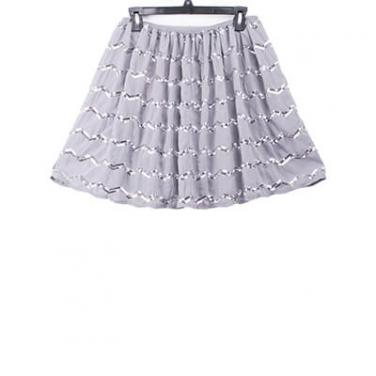 Silver Sequin Embroidery Skirt