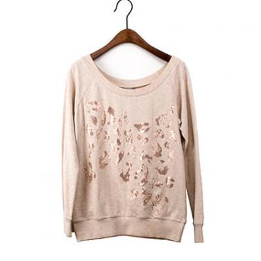 Oatmeal Sequin Burnout Embelishment Pullover