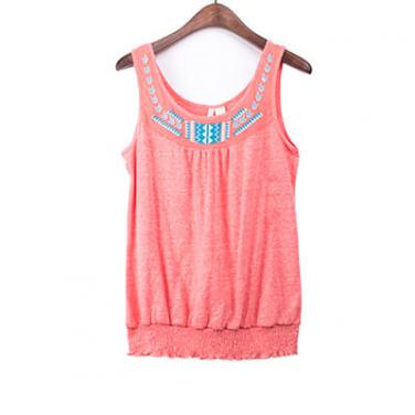 Embroidery Neck Shirred Bottom Tank Top
