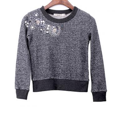 Artisan Sequins And Beads Embelishment Marled French Terry Pullover