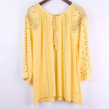 3/4 Sleeves Embroidery Rayon Yellow Top