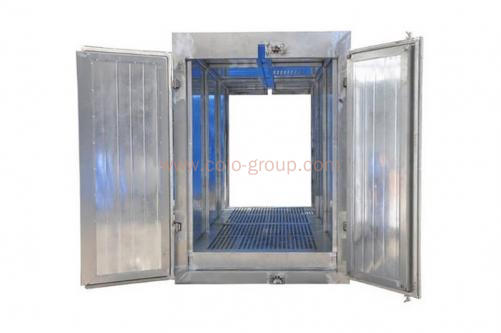 Powder coating oven with top track